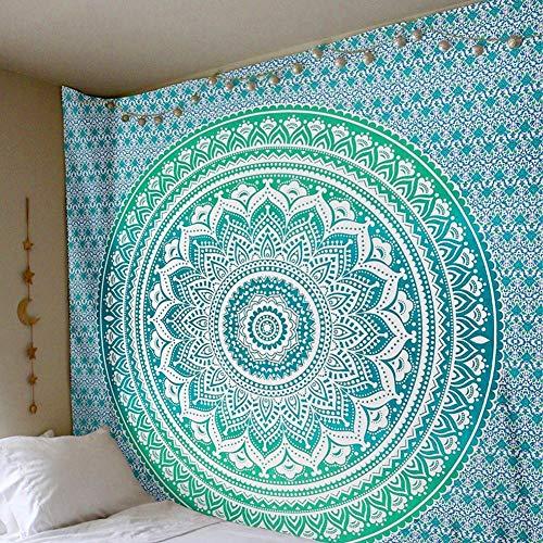Zmigrapddn Mandala Bohemian Tapisserie indische Tapisserien Wandteppich Strand Überwurf Tuch Schal Decke Yoga Matte, Polyester, grün, 200x150cm