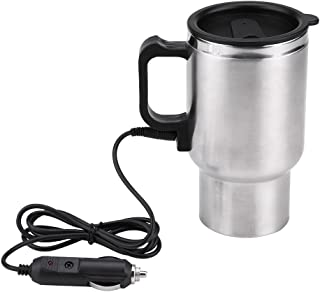 Acouto 12V 450ml Car Electric Kettle, In-car Kettle Boiler Vehicle Travel Heating Drinking Cup Coffee Tea Car Cup Mug Water Bottle Portable Stainless Steel