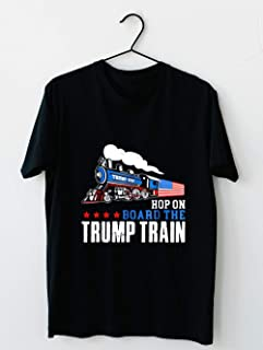 Hop On Board The Trump Train 2020 Patriotic U-S Flag T-Shirt-Trump Supporters Political Collection Cotton short sleeve T shirt, Hoodie for Men Women Unisex