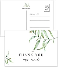 50 Greenery Thank You Postcards, Thank You Cards for Wedding, Bridal Shower,Baby Shower, Birthday, Business, Blank Postcards, 4x6 Inches.