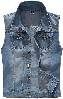 Mens Slim Fit Denim Vest Jean Sleeveless Ripped Waistcoat Casual Jacket Top