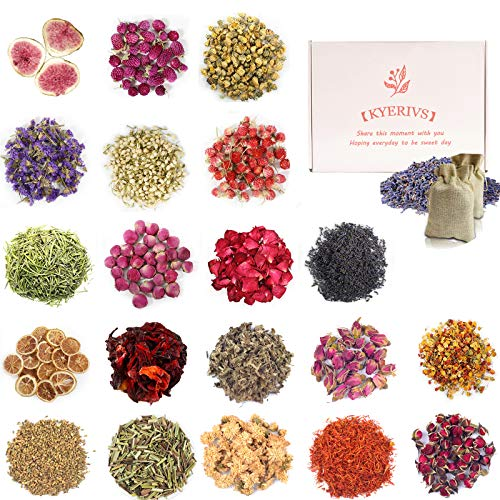 20 Bags Dried Flowers, Natural Dried Flower Herbs for Soap Making, Candle Making, Bath, DIY Jewelry Making, Drawing Decoration, Dried Lavender, Rose Petals, Jasmine Flower