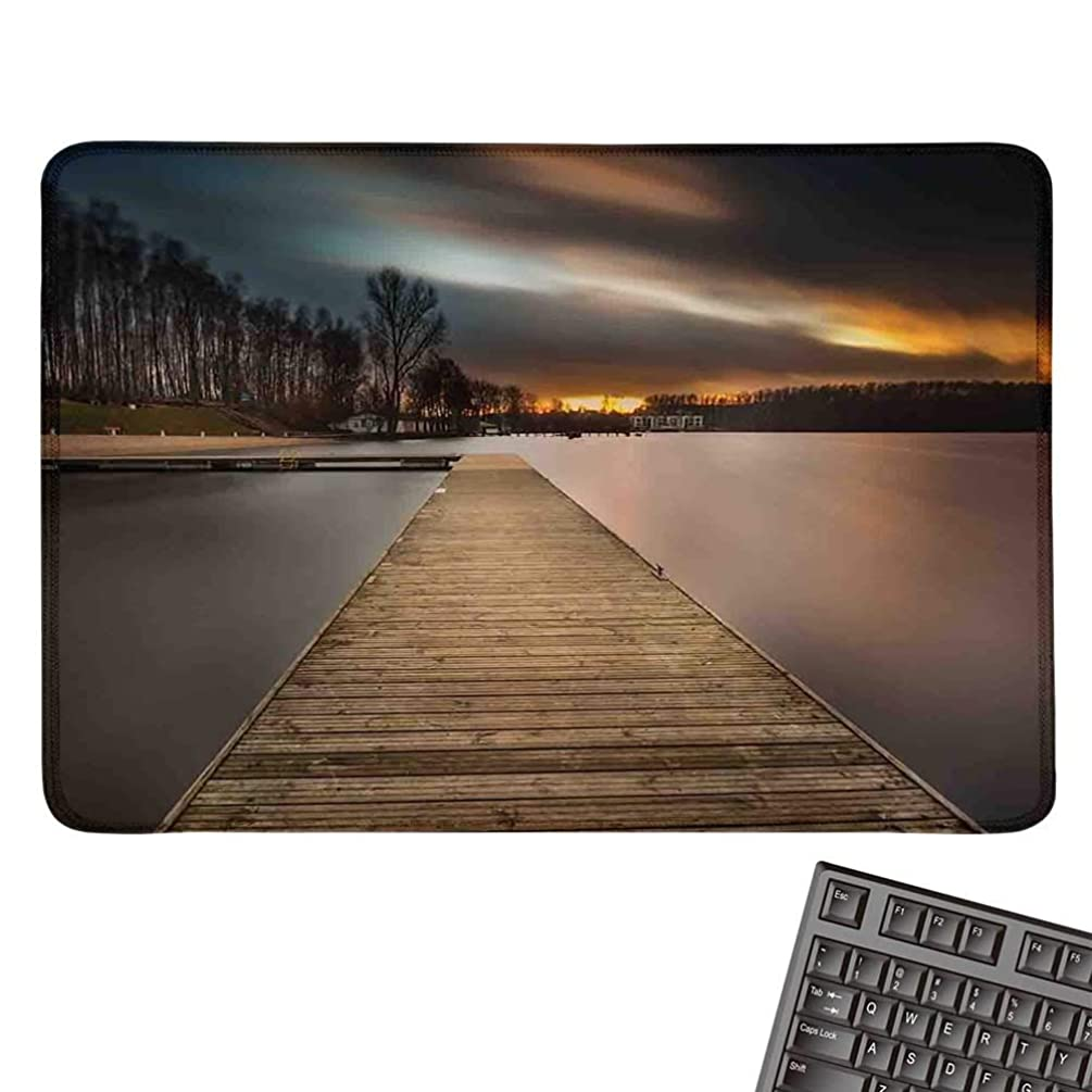 LandscapeOffice Mouse PadLake Landscape with Jetty Cloudy and Dramatic Sky Scene at Sunset ImageWaterproof Mice Pad 15.7