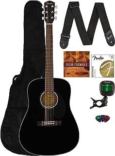 Fender CD-60S Solid Top Dreadnought Acoustic Guitar - Black Bundle with Gig Bag, Tuner, Strap, Strings, Picks, Austin Baza...