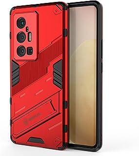 جراب OIATROE لهاتف Vivo X70 Pro Plus، حامل عمودي وأفقي، مضاد للسقوط، نمط الشريق، حماية الكاميرا - أحمر