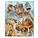 Dawhud Direct Dinosaurs Selfie Super Soft Plush Fleece Throw Blanket
