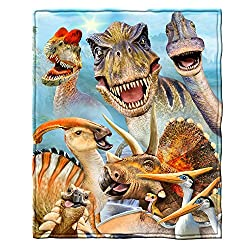 6. Dawhud Direct Dinosaurs Selfie Super Soft Plush Fleece Throw Blanket