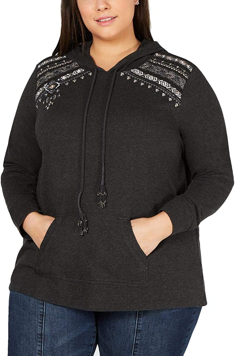Style & Co. Womens Embroidered Hoodie Sweatshirt