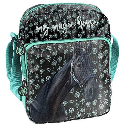 PASO - PFERDE Kinder Schultertasche 24x18x6 cm - My Magic Horse - SCHWARZ/Mint