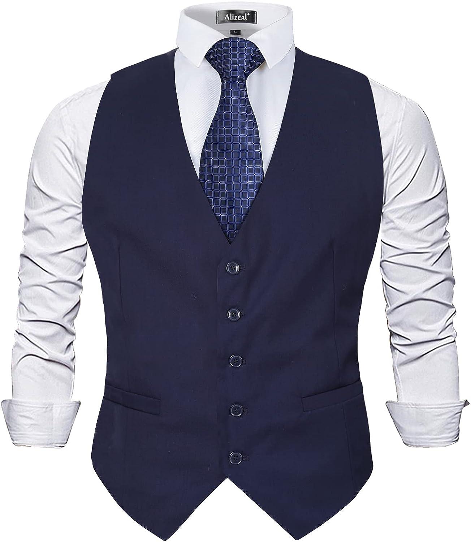 Alizeal Mens Classic Solid Color Vest Business Fit Regular Suit outlet Gorgeous