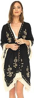Womens Boho Kimono Beach Swimsuit Cover Up Cardigan with Fringe