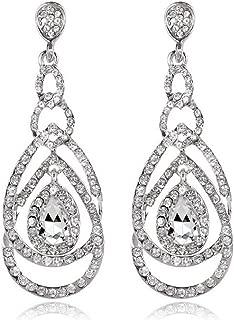 Cute Hollow Crystal Rhinestone Teardrop 8-Shaped Long Dangle Earrings for Women Fashion Strand Jewelry