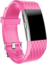 NewKelly Watchband for Fitbit Charge 2, Silicone Bracelet Strap Band Lenth 150mm-205mm with Watch