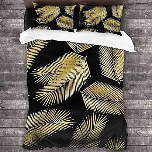 Juego de ropa de cama de 3 piezas con hojas de palma doradas tropicales, 201 x 70 cm, súper suave, cálido, juego de cama con 2 fundas de almohada