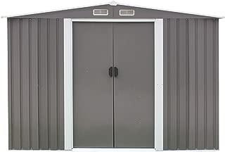 Kinbor 8' x 6' Outdoor Galvanized Steel Garden Storage Utility Tool Shed Backyard Lawn w/Door