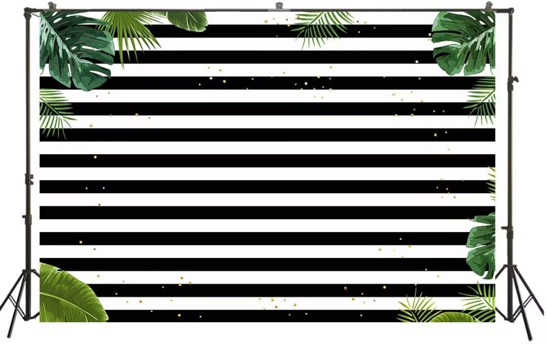 HUAYI White and Black Stripes with Golden dots and Green Palm Leaf Backdrop Celebration Children Birthday Party Decorations Banner Photo Studio Props Polyester Fabric US-W-809-5/×3ft