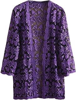 Women 3/4 Sleeve Lace Crochet Sheer Open Front Cardigan Coat