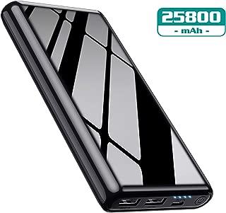 モバイルバッテリー 大容量 25800mah 【薄型 艶出し仕上げ】 残量表示 急速充電 2USB出力ポート バッテリー 携帯充電器 Android/その他のスマホ/タブレット対応 PSE認証済み