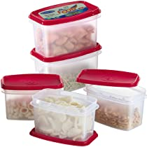 Primeway Polypropylene Space Savers Oblong Food Containers, 750ml, 5 Pcs, Red