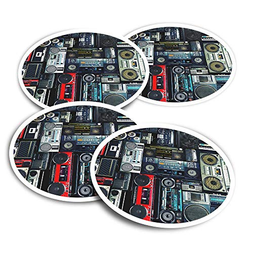 Pegatinas de vinilo (juego de 2) 10 cm – Radios Cassette Player Retro Music Fun Calcomanías para ordenadores portátiles, tabletas, equipaje, reserva de chatarra, neveras #14242