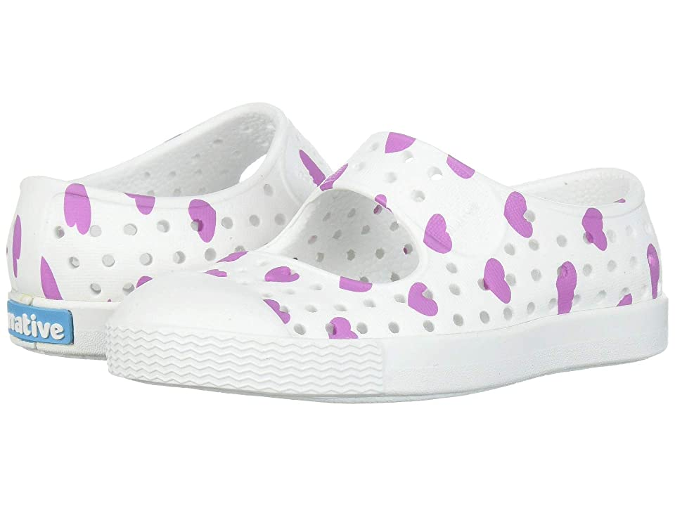 Native Kids Shoes Juniper Print (Toddler/Little Kid) (Shell White/Shell White/Peace Purple Heart Print) Girls Shoes