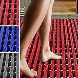 etm Suelo Antideslizante para Piscina - Alfombra de Drenaje | Aqua-Grip | Suelo Anti-Fatiga para pies Descalzos | Loseta ventidada para Zonas húmedas | Rojo, (60x200 cm)