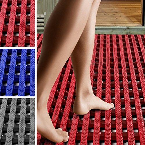 etm Suelo Antideslizante para Piscina - Alfombra de Drenaje | Aqua-Grip | Suelo Anti-Fatiga para pies Descalzos | Loseta ventidada para Zonas húmedas | Rojo, (60x300 cm)