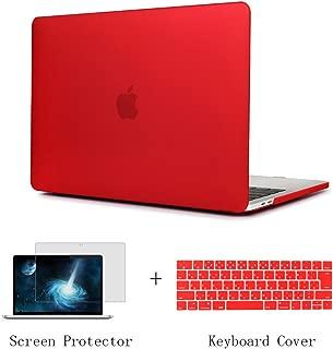 TwoL 2016 / 2017 MacBook Pro Retina 13 (Touch Bar非搭載)ハードケース つや消しクリア 薄型 耐衝撃 保護シェル シリコンキーボードカバー 液晶保護フィルム (対応モデル:A1708) (マット レッド)