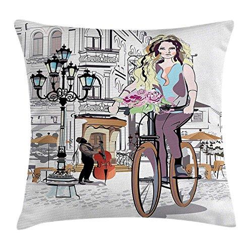 Usicapwear Fashion House Decor Kussensloop, Meisje met fiets en rozen in een straat oude stad muzikant romantische tour in de stad, decoratieve vierkante Accent kussensloop, roze
