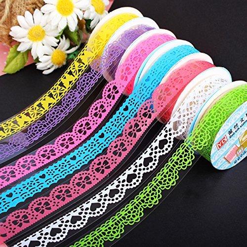 Tfxwerws 3 Rouleau Couleur élégant Dentelle Fleur DIY papier collant décoratif ruban de masquage Accessoires