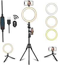 """8"""" LED Selfie Ring Light with Tripod Stand & Phone Holder for Live Streaming & YouTube Video & Vlogs, Dimmable Makeup Ring Light for Photography, Shooting with 10 Brightness Level & 3 Light Modes"""