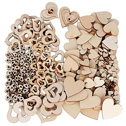 400 Pezzi di Cuore in Legno Fetta, Naturale a Forma di Cuore in Legno Piatto Decorativo Decorazione Matrimonio Natale Clip Art da Tavolo Artigianale Fai da Te, Fetta Decorazione Cuore