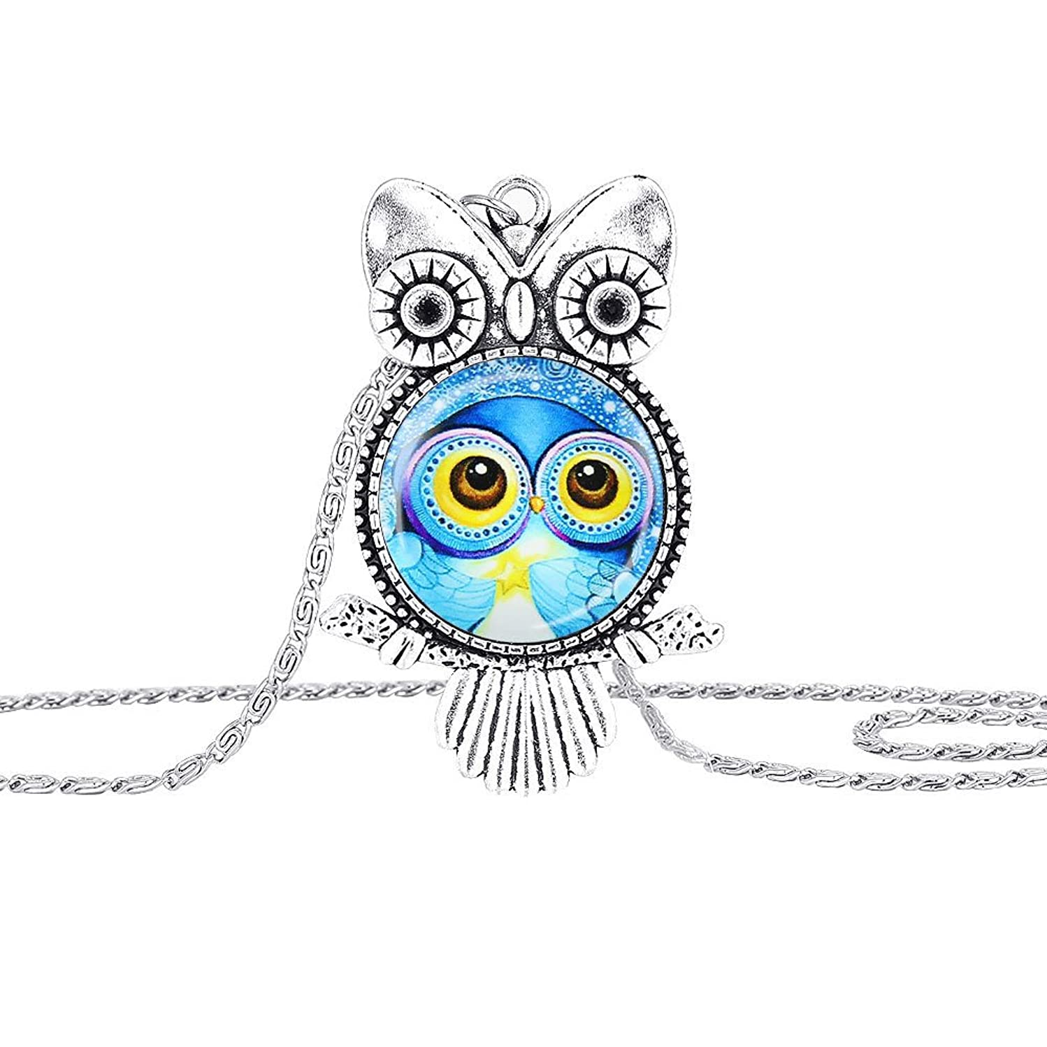 Muranba 2019 ! Owl Pendant Necklace Jewelry Vintage Newest Glass Cabochon Necklace Silver