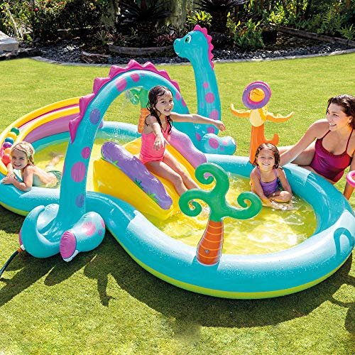 Intex-57135NP Dinoland Play Center-Inflatable water play center, assorted model (with and without volcano), multi-colored, 333x229x112 cm-280 Liters (57135NP)