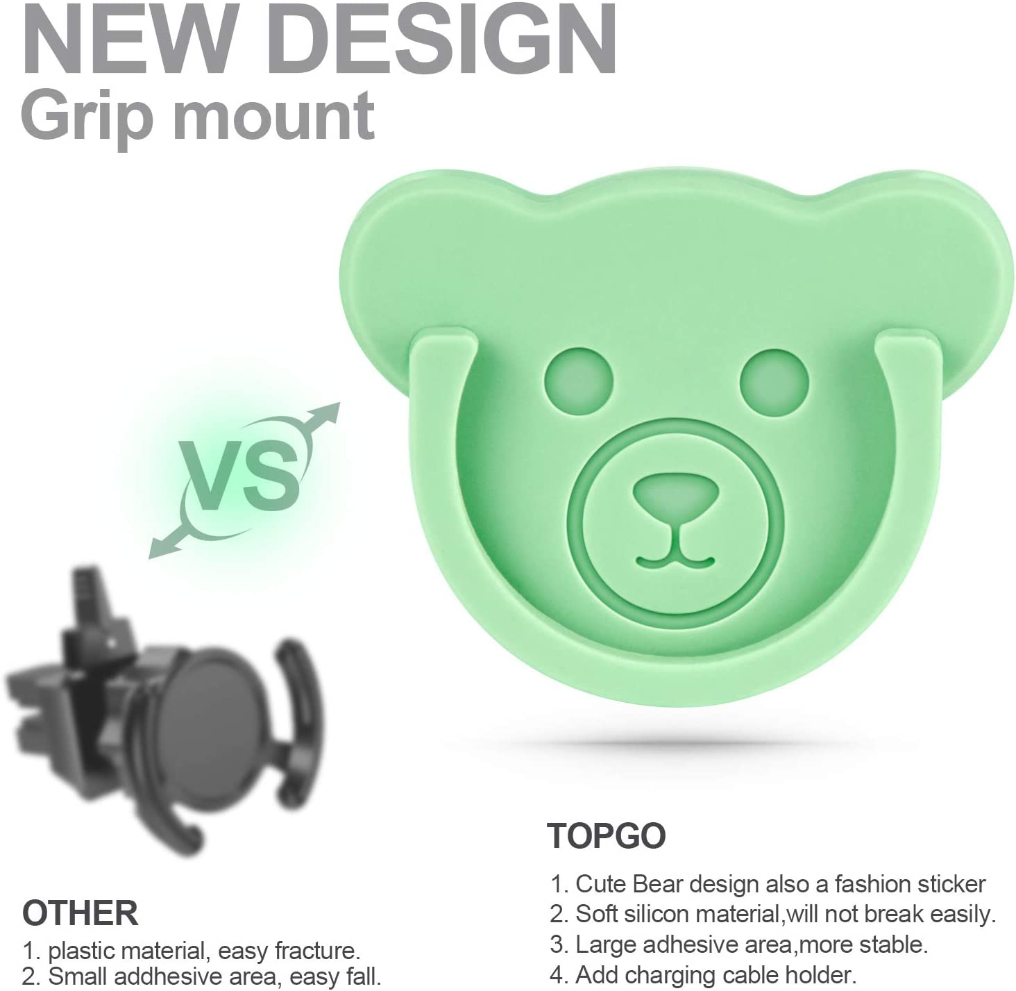Kitchen Desk Color Home 3 Pack Socket Car Mount for Phone Holder Cute Bear Style Silicone Grip Stand with Phone line Clasp for Collapsible Socket User Used on Dashboard Office Wall