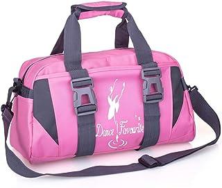 حقيبة رياضية للفتيات صغيرة / كبيرة للرقص حقائب الرياضية للسيدات حقيبة اليوغا (كبير وردي وأبيض)