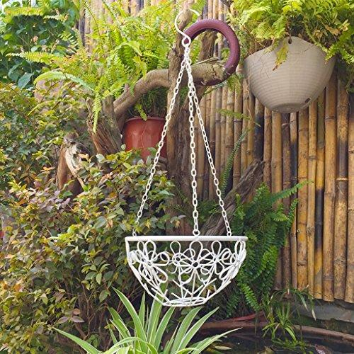CKH Pastorale Blanc Fer Forgé Panier Fleur Balcon Balcon Jardin Suspendu Fleur Araignée Plante Vert Pivoine Étagère