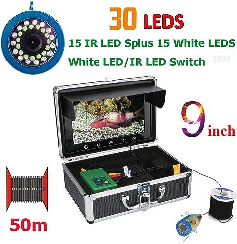 GW 9 Pouces 15M 30M 50M 1000TVL caméra de pêche sous-Marine de pêche sous-Marine 15pcs LED Blanches + Lampe Infrarouge 15pcs pour Glace mer,50M
