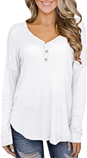 Womens Long Sleeve Henley Waffle Knit Solid Casual Loose Plain Blouses Tunic Tops