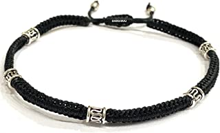 DARSHRAJ JEWELLERS 925 Sterling Silver(Chandi) Silver Round Beads Black Thread Anklet for Girls| Women-(Pack of 1)