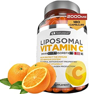 Premium Liposomal Vitamin C 2000mg - 180 Capsules –Ultra Potent High Absorption Ascorbic Acid, Supports Immune System & Co...