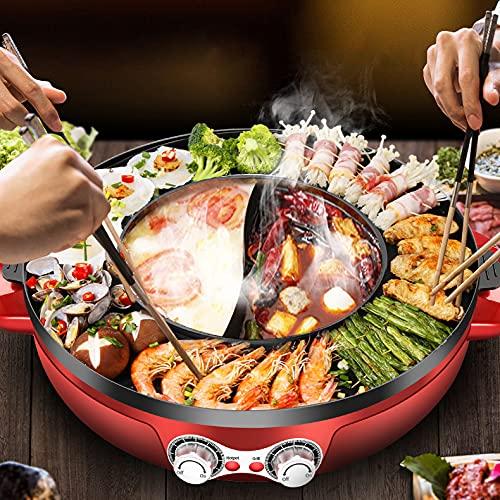 Kacsoo Elektrische Hot Pot Elektrische Barbecue 2 in 1 große Kapazität doppelte Temperaturregelung Geteiltes Design Leicht zu reinigen Schnelle Erwärmung für Familienrestaurant Hotel 2200W 42cm (Rot)