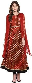 Imara Womens Round Neck Printed Anarkali Suit