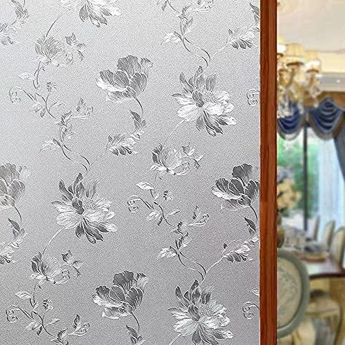 Shackcom Fensterfolie Selbsthaftend Blickdicht 90x400CM Sichtschutz Sichtschutzfolie Statisch Haftend Anti-UV Dekorfolie für Bad Küche Büro Zuhause-Z005