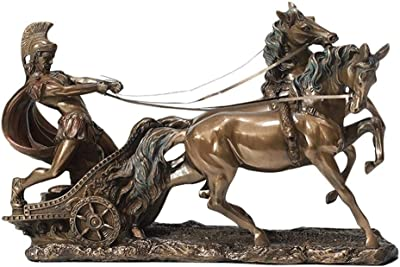 Cold Cast Bronze - Classic Sculpture Mbz+Color XoticBrands Mohican Warrior On Horseback Shooting Arrow