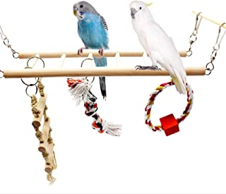Parrot Wooden Bird Swing Parakeet Cage Hammock Hanging Toy for Small Parakeets Cockatiels Conures Macaws Parrots Love Birds Finches (1 Floor)