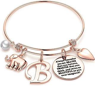 M MOOHAM Elephant Gifts for Women Girls, Rose Gold Initial Elephant Charm Bracelets for Women Girls Friends Mom Daughter B...