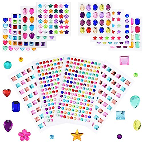 24 Sheets 1290 Pieces Bling Rhinestone Sticker Self Adhesive Jewels Sticker Rhinestone Crystal Gemstone Stickers for Craft DIY Decorations (24 Sheets)