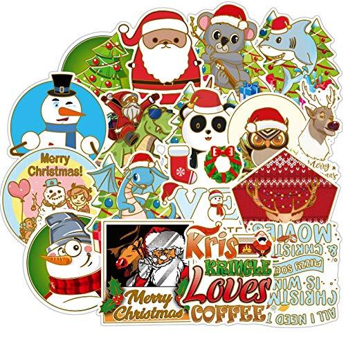 WYDML Pegatinas de Navidad de dibujos animados Doodle Pvc refrigerador portátil equipaje de viaje fresco impermeable pegatina de niños clásico juguete 50 piezas