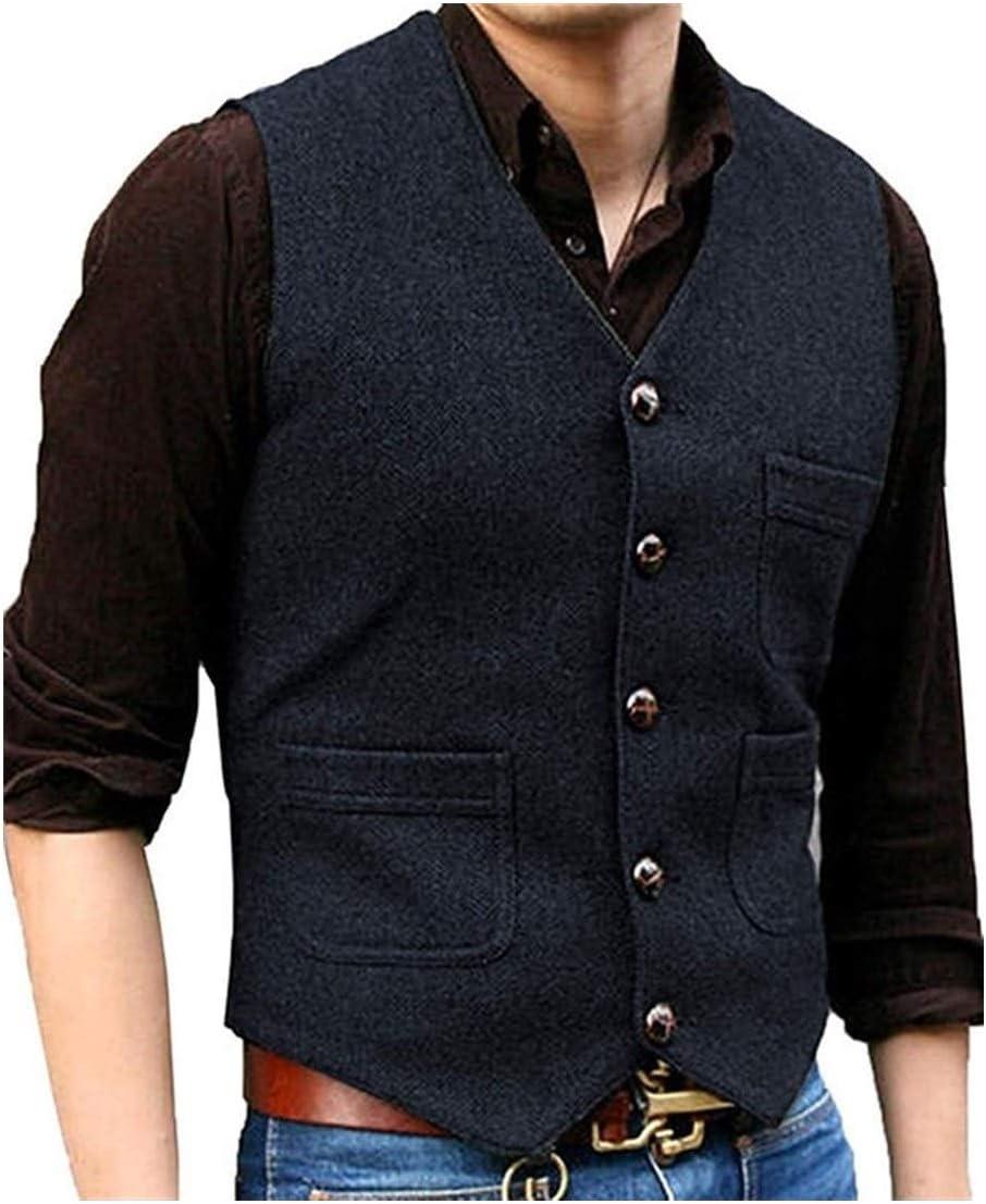 QWERBAM Men's Suit Fees free!! V Neck Herringbone Sale Wool Busin Tweed Waistcoat